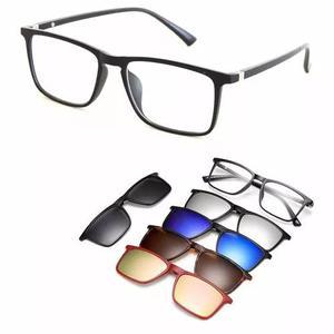 Armação De Óculos Design Moderno Com Clip Magnético De 0