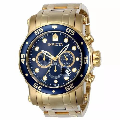 Relógio Invicta Pro Diver Troca Pulseira 23651 Plaque Ouro 0