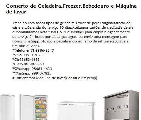 Refrigeração conserto de geladeira e freezer em Salvador 0