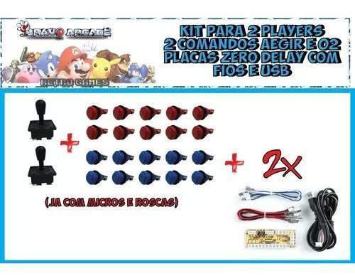 Kit Arcade Duplo Comandos 20 Botões E 2 Placa Zero Delay 0