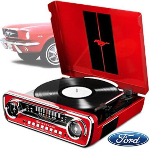 Toca Disco LP Mustang USB Retro 4 Em 1 Vintage Radio Vinil 0