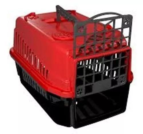 Caixa De Transporte N.1 Cão Cachorro Gato Pequena Vermelha 0