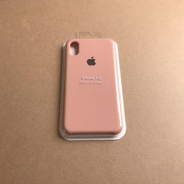 capinha silicone apple - iphone xs rosa areia 0