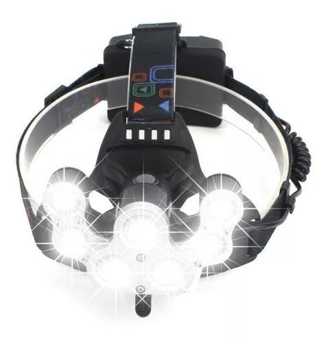 Lanterna Cabeça Recarregavel 7 Leds T6 + Traseira Piscante 0
