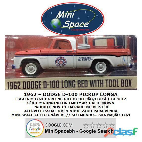 Greenlight 1962 Dodge D 100 Pickup Longa (Red Crown)1/64 2