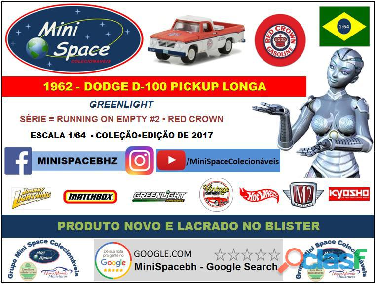 Greenlight 1962 Dodge D 100 Pickup Longa (Red Crown)1/64 8