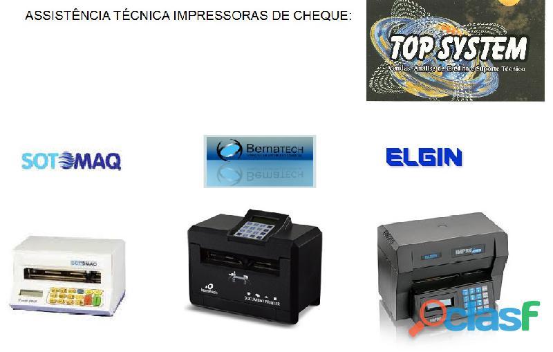 Assistência técnica impressoras de cheque Sotomaq, Bematech, Elgin em Campinas