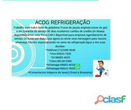 Acdg refrigeração conserto de geladeira e etc.