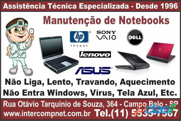 Assistência técnica manutenção notebook hp dell lenovo asus acer sony compaq positivo são paulo sp c