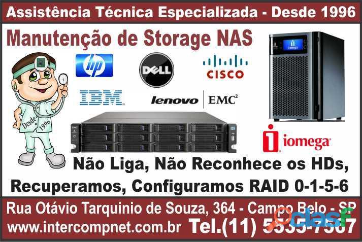 Assistência técnica manutenção storage nas hp dell ibm lenovo emc2 iomega sp são paulo campo belo