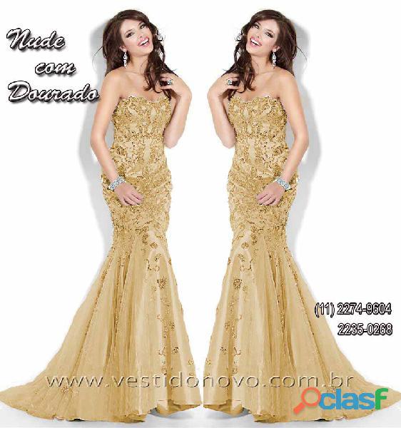 Vestidosereia Plus Size mae do noivo na cor dourada