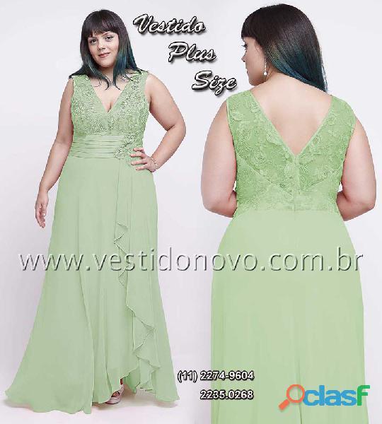 Vestido plus size, mae do noivo verde claro com renda