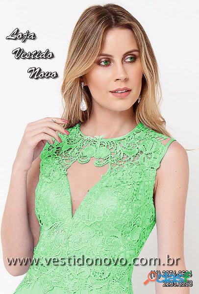 Vestido em renda, mãe de noivo, verde claro, aclimação, vila mariana, zona sul
