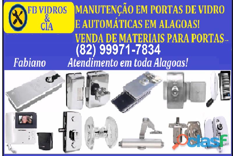 Serviços e venda de materiais para portas de vidro e automáticas