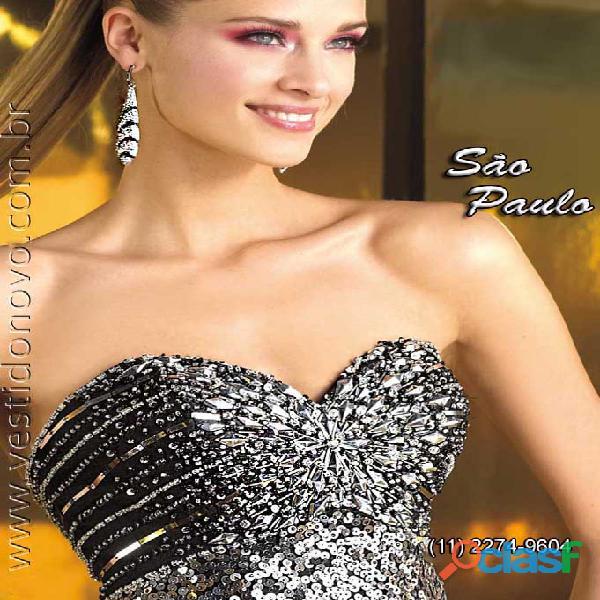 Vestido plus size balada todo em brilho prata e preto, loja na aclimação, zona sul