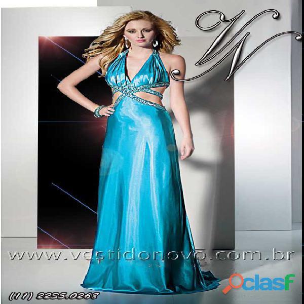 Vestido de formatura azul tiffany, decote, fenda Aclimação zona sul