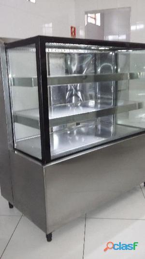 vitrine em aço inox escovado refrigerada com sistema de ar forçado 1.0x60x1.20