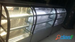 vitrine em aço inox quente, refrigerada e neutra promoçao