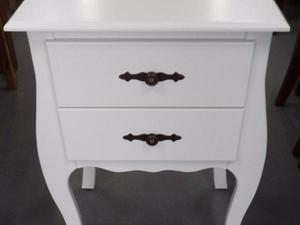 Criado-mudo e mesa de apoio com 2 gavetas cor branco