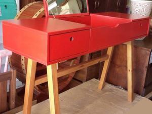 Escrivaninha com espelho e 2 gavetas - vermelho
