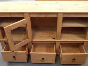 Rack rústico 1 porta, 3 gavetas e 4 nichos