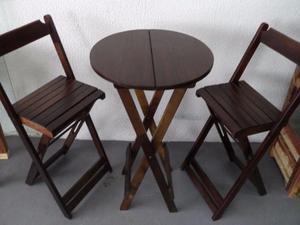 Conjunto dobrável de mesa bistrô com 2 banquetas altas