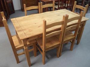 Mesa 1,50 com 6 cadeiras rústico