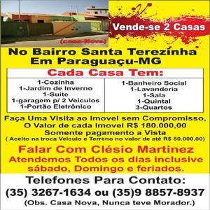 vende se 2 casas em Paraguaçu MG