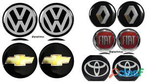 Kit 4 emblemas logo adesivo resinado centro de roda calota