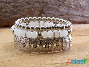 Mix kit conjunto de pulseiras prateadas bijuterias