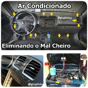 Serviços de ar condicionado automotivos (manutenção preventiva e corretiva; recarga de gás do ar con