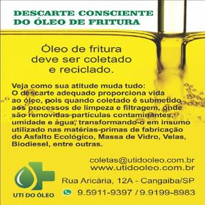 Coleta gratuita óleo e gordura vegetal