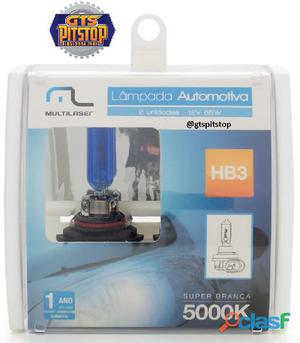Lâmpadas automotiva multilaser super branca hb3 55 watts 5000k