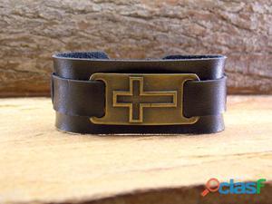 Pulseira de couro masculina preta cruz bijuterias