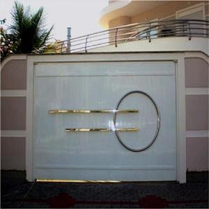 Portão chapa alumínio branco