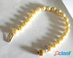 pulseira de perola amarelada com ouro