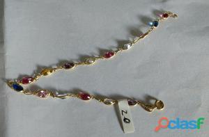 Pulseira em ouro com pedra coloridas