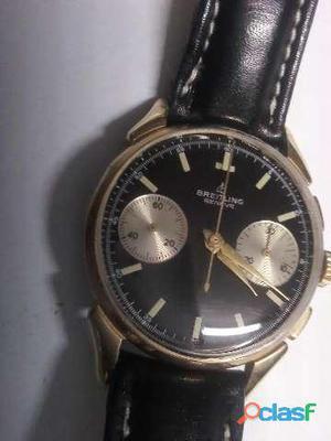 relógio breilting cronógrafo manual caixa em plaquê de ouro