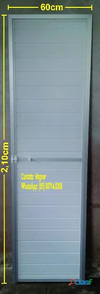 Porta p/ banheiro   60x2,10   (estrutura de alumínio fosco com pvc branco.).