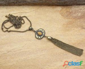 Colar longo de franjas tassel ouro velho bijuterias