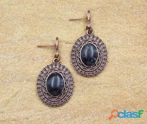 Brinco oval coral preto bijuterias moda e acessorios