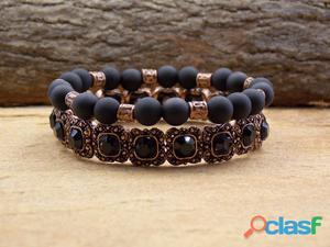 Mix kit conjunto de pulseiras cobre preta bijuterias
