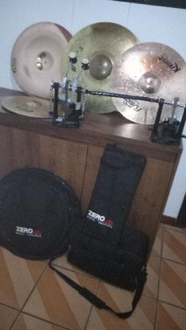 Kit pratos bateria + pedal duplo