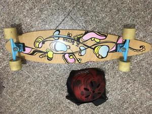 Long board com kit de proteção completo
