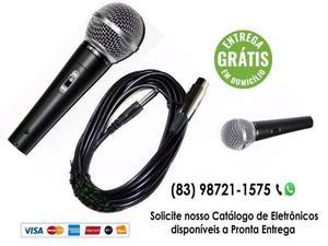 Microfone profissional com cabo sm 58 igreja - entrega
