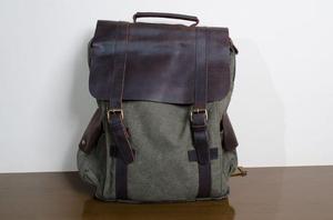 Mochila em lona com couro, para notebook ou fotografia