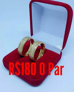 Par de alianças banhadas a ouro 18k garantia 1 ano