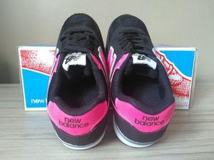 Tênis new balance veludo preto/rosa infantil ótima