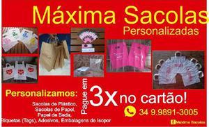 Máxima sacola plásticas ou papel personalizadas