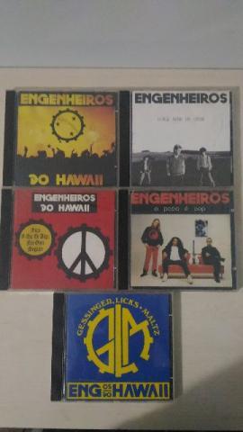 5 cds engenheiros do hawaii - originais, usados, em ótimo